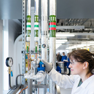 INTO international student using chemical engineering equipment