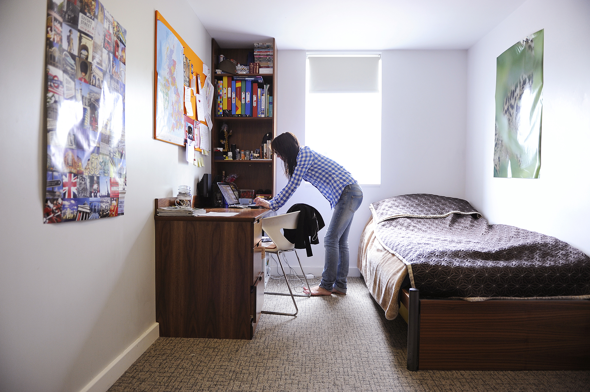 Student in a private study bedroom at INTO UEA