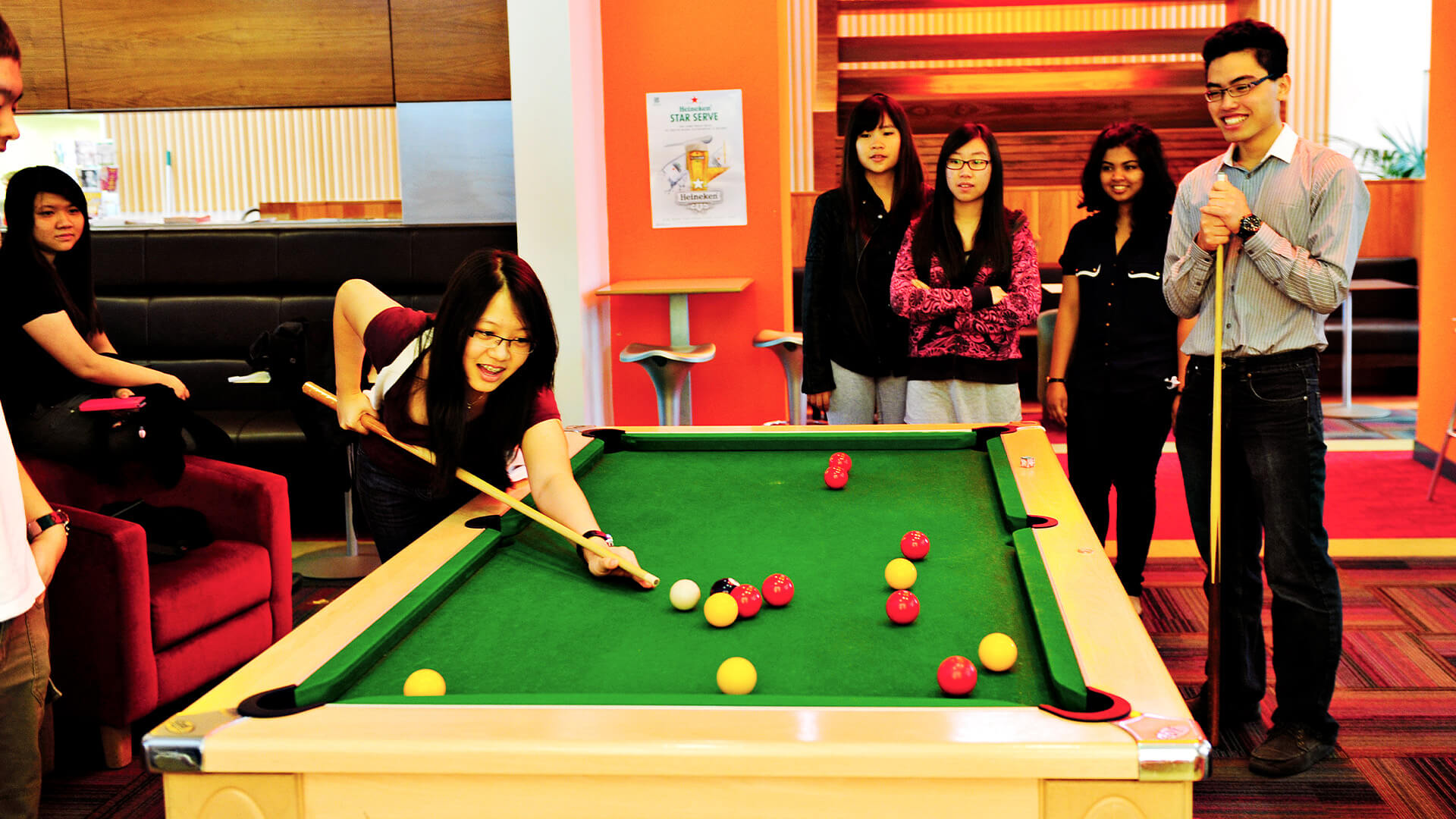 International students playing pool at Queen's University Belfast