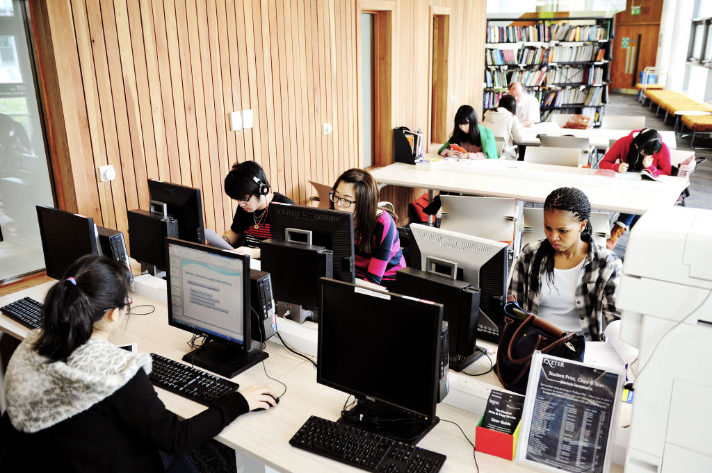 Students using the Learning Resource Centre computer banks